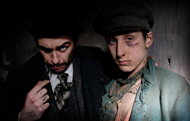The terrifying Carmichael (Joseph Gilgun) with Gower)