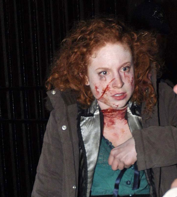 Just your average girls night out in Whitechapel! Sarah on the set of 'Ripper Street'